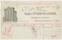 Bought of Eimer & Amend, wholesale druggists, 205, 207, 209 & 211 Third Ave., cor. 18th St.