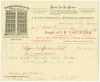 [Collection of business correspondence of S. R. Van Duzer, wholesale druggist, New York]