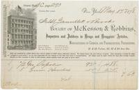 Bought of Mackeown, Thompson & Co., wholesale druggists, 195 Liberty Street, Pittsburgh