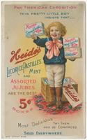 Pan American Exposition. This pretty little boy insists that___ Heide's licorice pastilles, mint and assorted jujubes are the best.