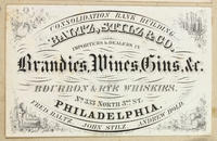 Baltz, Stitz, & Co. Importers & dealers in brandies, wines, gins &c. Bourbon & rye whiskies. No. 333 North 37th St. Philadelphia.