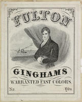 [Textile labels advertising Ginghams, and Balmoral skirts]