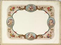 [Print with ornate border containing vignettes representing the seasons]
