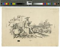 [Proof vignette of Southern planter and scenes from the South]