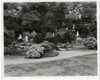 [Women and girls posed at Glendinning Rock Gardens, Fairmount Park, Philadelphia]