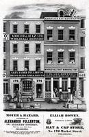 Moyer & Hazard, successors of Alexander Fullerton, 174 Market Street, fifth door above Fifth Street, Philadelphia [and] Elijah Bowen, wholesale & retail hat & cap store, No. 176 Market Street, Philadelphia. [graphic].