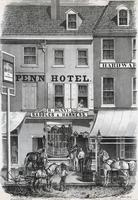 Penn Hotel & Denny's harness shop. [graphic] / On stone by W.H. Rease 17 1/2 S. 5th St.