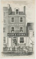 [James Lane's stove store, No. 218 North Third Street, Philadelphia] [graphic] / Drawn on stone by W. H. Rease, 17, Sth. 5th St. Phil.