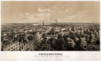 Philadelphia, from the State House steeple, north, east and south. [graphic] / Sketched from nature by Joseph Thoma ; Drawn on stone by Leo Elliot ; N. Friend's Lithc. Offce. 141 Walnut Street ; Printed at T. Sinc.