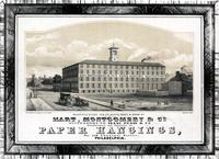 Hart, Montgomery & Co. Successors to Isaac Pugh & Co. Manufacturers and importers of paper hangings, No. 118 Chestnut Street, Philadelphia. Manufactory N.E. Cor. Schuyl[kill] Front & Wood Streets [graphic] / On Stone by W.H. Rease, 17 So. 5th St.