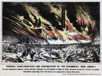 "Terrible conflagration and destruction of the steamboat ""New Jersey,"" on the Delaware River, above Smith's Island, on the night of March 15th, between 8 and 9 o'clock, in which dreadful calamity over 50 lives are supposed to have been lost. [graphic]."