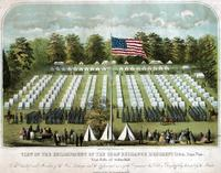 View of the encampment of the Corn Exchange Regiment 118th. Penn. Vols. near Falls of Schuylkill. [graphic] / Del. & Lith. by J. Magee ; Lith & Print. by W. Boell, 311 Walnut St.