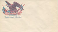 Eagle standing on flags and shield envelope