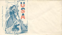Two women with young girl looking into U.S.A. mirror envelope