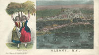Albany with two women holding grain envelope