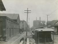 Cross wires on Front St. north from bent 39, April 24, 1916.