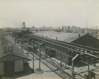 Perspective from tower of storage warehouse, Front St. below Green, looking south, May 19, 1916.