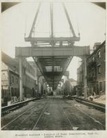 Progress of steel construction at bent 61, looking south, May 22, 1916.