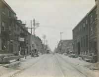 Progress of steel construction in Front St., at bent #74, looking north, June 5, 1916.