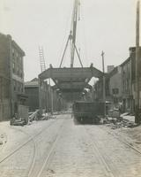 Progress of steel construction in Front St. at bent #72, looking south, June 5, 1916.