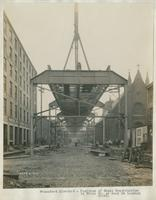 Progress of steel construction in Front St. at bent 99, looking south, June 19, 1916. [including Immaculate Conception R.C. Church, at Allen St., two blocks bel. Girard Ave.]