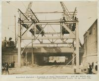Progress of steel construction - arch over Lehigh Ave. and Kensington Ave. Richmond Branch P & R Ry., bent 273, August 28, 1916.