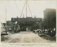 Progress of steel construction in Front St., looking south from bent 187, September 5, 1916.