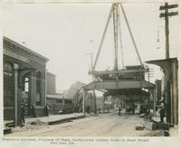 Progress of steel construction, looking south on Front St. from bent 189, September 11, 1916.