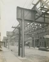 Perspective of structure in Front St. below Girard Ave., showing absence of longitudinal station girders, September 12, 1916.