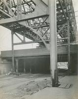 Temporary supports on sidewalk for arch over P. & R. Ry. Kensington Ave., September 14, 1916.