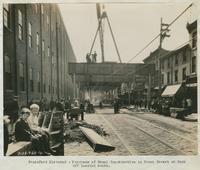 Progress of steel construction in Front Street at bent 227, looking south, September 25, 1916.