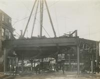 Progress of steel construction in Kensington Ave. at bent # 234, looking south, October 2, 1916.