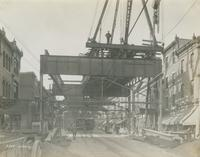 Progress of steel construction in Kensington Ave. at bent 268 looking south, October 23, 1916.