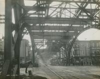 Progress of steel construction in Kensington Ave., arch over Lehigh Ave., looking south, October 30, 1916.