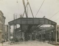 Progress of steel construction in Kensington Ave. at bent #378 looking south, April 23, 1917.
