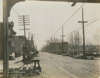Progress of steel construction in Kensington Ave. at bent #378 looking north, April 23, 1917.