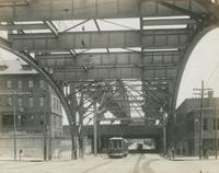 Arch over Lehigh Ave. showing detail construction under road-bed, looking north, June 4, 1917.