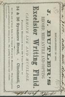 J. J. Butler's record, mercantile and copying excelsior writing fluid.