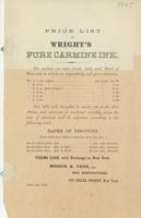 Price list of Wright's pure carmine ink.
