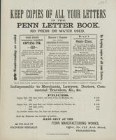 Keep copies of all your letters in the Penn letter book.