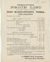 Wholesale and retail price list of goods made at the Penn Manufacturing Works, Philadelphia.