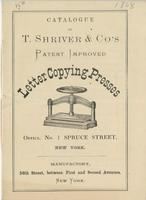 Catalogue of T. Shriver & Co's patent improved letter copying presses.
