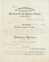 Office of M. Thalmessinger, late Thalmessing & Cahn, manufacturing and importing stationer, 310 Broadway, New York, March 18th, 1868.