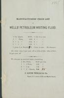 Manufacturers' price list of Wells' petroleum writing fluid.