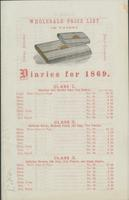 Wholesale price list of patent diaries for 1869.