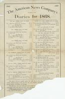 The American News Company's list of diaries for 1868.