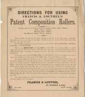 Directions for using Francis & Loutrel's patent composition rollers.