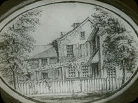 Knorr house, N.W. Main St. & Walnut Lane, from pencil sketch on a visiting card, made in 1862.