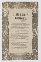 I AM LONELY TO-NIGHT.
