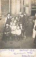 Group portrait of young boys on steps, Philadelphia.